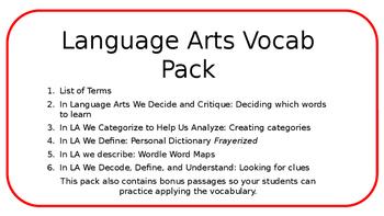 Language Arts Vocab Pack