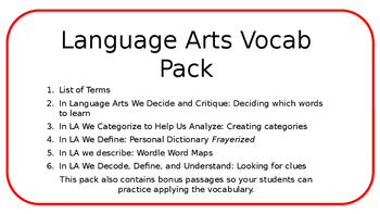 Language Arts Vocab Pack