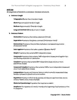 Language Arts Vocabulary 101