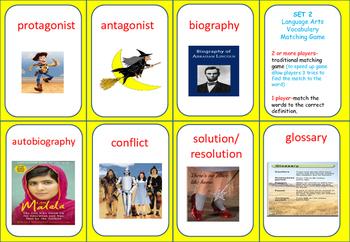 Language Arts Vocabulary MATCHING GAME/Word to Def.SORT- set 2