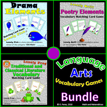 Language Arts Vocabulary - Matching Card Games Bundle
