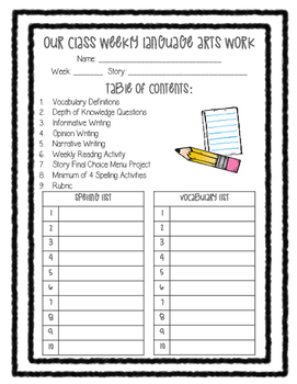 Language Arts Weekly Cover Sheet, Spelling, and Vocabulary FREEBIE
