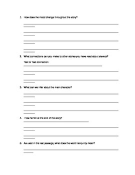 Language Arts Worksheet - Story and accompanying questions