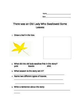 """Language Arts activities for """"There Was An Old Lady Who Swallowed Some Leaves"""""""