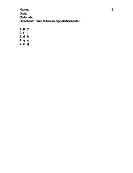 Language Arts - alphabetizing worksheets - functional academics