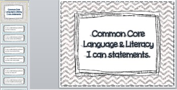 Language Arts and Literacy Pre-K Common Core Guidelines I Can Statements