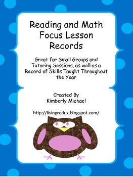 Language Arts and Math Focus Lesson Record