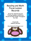 Language Arts and Math Focus Lesson Record