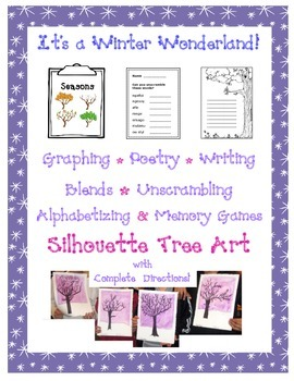 Language Arts and Math with Winter Tree Art Project