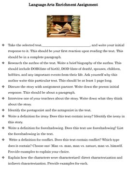 Language Arts/English Enrichment Assignment
