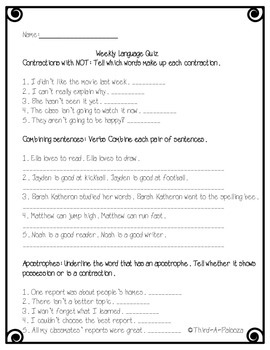 Language Assessment: Contractions with not, combining sentences, apostrophes