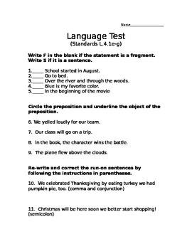 Language Assessment (L.4.1e, L.4.1f, L.4.1g)
