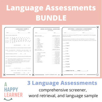Language Assessments for SLPs   Vocab, Reading, Syntax, Phonology, Morphology