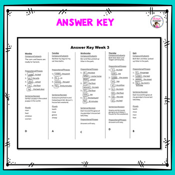 4th Grade Daily Language Review and Warm-Up and Homework