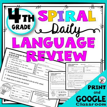Daily Language Spiral Review Morning Work | Homework - 4th Grade