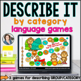 Language Board Games | Describe by Category | BOOM CARDS™