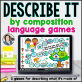 Language Board Games | Describe by Composition | BOOM CARDS™
