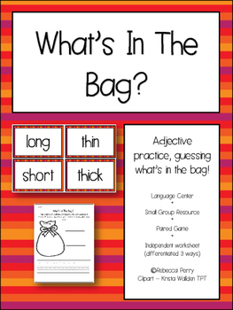 Language Center Adjectives - What's in the bag? NO PREP resources & worksheets!