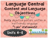 Language Central - Daily Content and Language Objectives - Units 4-6 - 2nd Grade