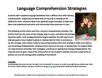 Language Comprehension Strategies: Anchor charts (SIOP)