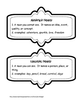 Language Concrete and Abstract Nouns: Printables with CCSS!!