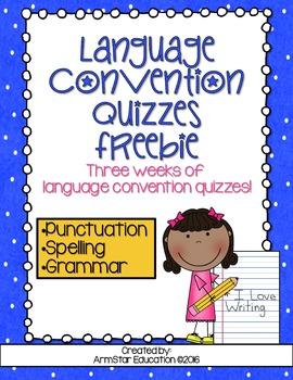 Language Conventions Quizzes Freebie