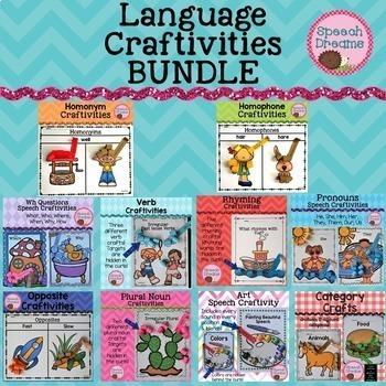 Language Craftivities BUNDLE {Opposites Nouns Verbs Categories Concepts}