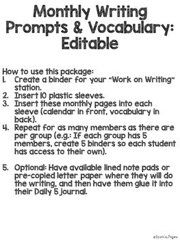 Language, Daily 5- Monthly Writing Prompts & Vocabulary, EDITABLE