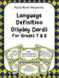 Language Definition Display Cards for Grades 7 and 8