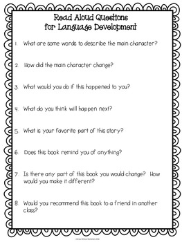 Language Development Read Aloud Questions FREEBIE!