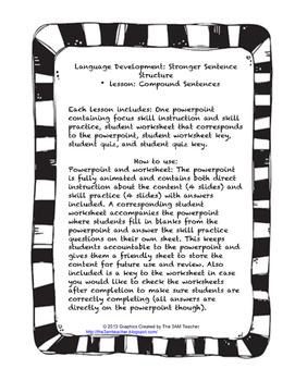Language Development- Writing Compound Sentences Lesson Pack