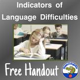 Language Difficulty Indicators Handout - FREE