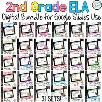 Language Digital Task Cards Mega Bundle for 2nd Grade - Paperless Option