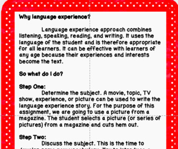 Language Experience DISTANCE LEARNING BUT NOT DIGITAL