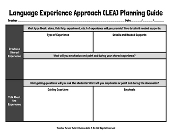 Language Experience Approach (LEA) Planning Guide