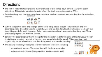 Language Extension Activity for The Lion Inside