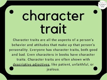 Language For Character Traits NO PRINT Vocabulary Unit