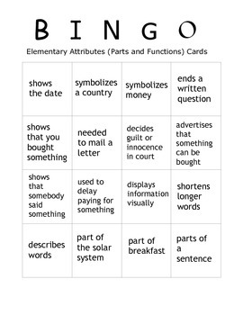 Language Galore's Bingo Pack One:  Attributes, Prepositions, and Vocabulary