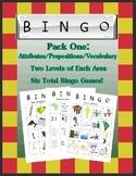 Language Galore's Bingo Pack One:  Attributes, Preposition