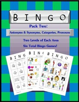 Language Galore's Bingo Pack Two:  Antonyms & Synonyms, Ca