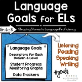 Language Goals For English Learners   Grades 6-8   ESL Goal Setting