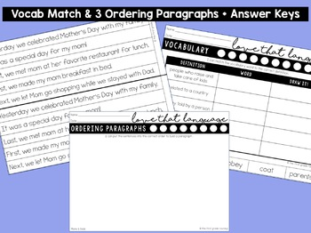 Language & Grammar Worksheets for First Grade: Mother's Day & Father's Day