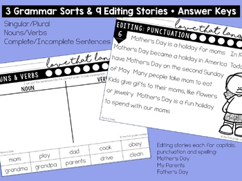 Language & Grammar Worksheets for Mother's Day & Father's Day