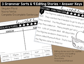Thanksgiving Language & Grammar Worksheets