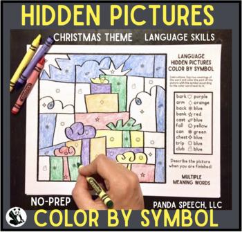 Christmas Language Color by Symbol (Hidden Images) Speech