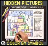Christmas Language Color by Symbol (Hidden Images) Speech Therapy Activity