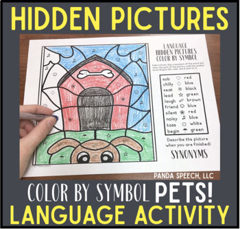 Pets Color by Symbol Language (Hidden Images) Speech Therapy Activity