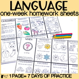 Language Homework Color Sheets | Speech Therapy Homework