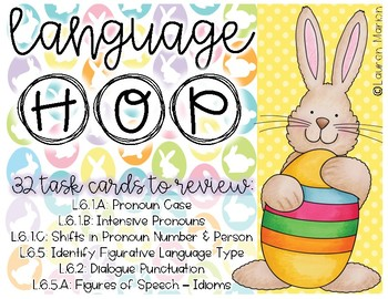 Language Hop! 6th Grade Language Skill Review Task Cards