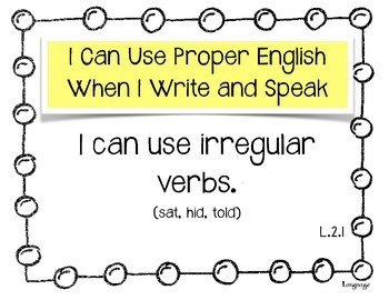 """Language """"I Can.."""" Statements for 2nd Grade"""